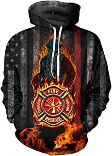 Thin Red Line Firefighter Hoodies for Men Women Plus Size Pullover Sweatshirts