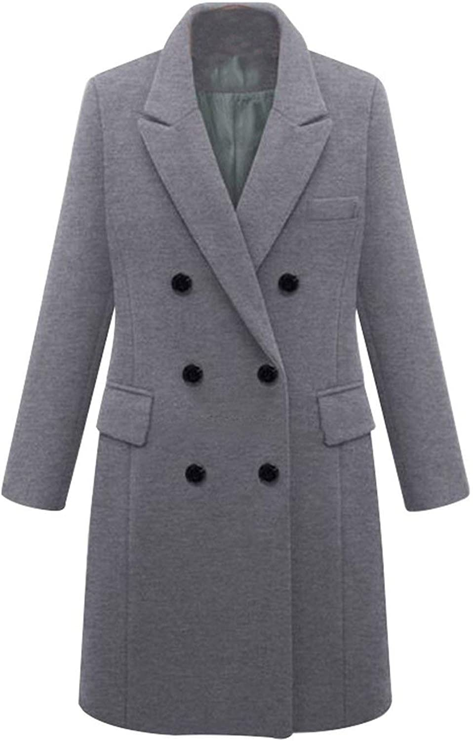 Warm Clothing Casual Wild with Solid Long Wool Coat Double Breasted Woolen Coat