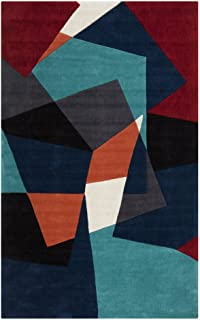 Surya Cosmopolitan COS-9125 Transitional Hand Tufted 100% Polyester Teal 8' x 11' Geometric Area Rug