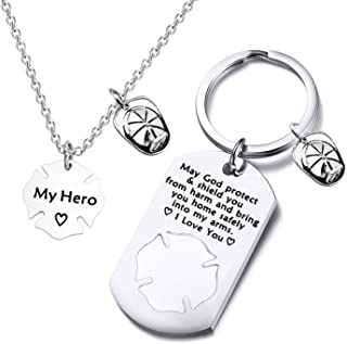 Firefighter Gift Keychain Necklace Matching Set Fireman Jewelry Gift for Firefighter Wife, Girlfriend, Mom, Daughter May God Protect You from Harm