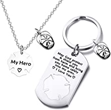FUSTMW Firefighter Gift Keychain Necklace Matching Set Fireman Jewelry Gift for Firefighter Wife, Girlfriend, Mom, Daughter May God Protect You from Harm