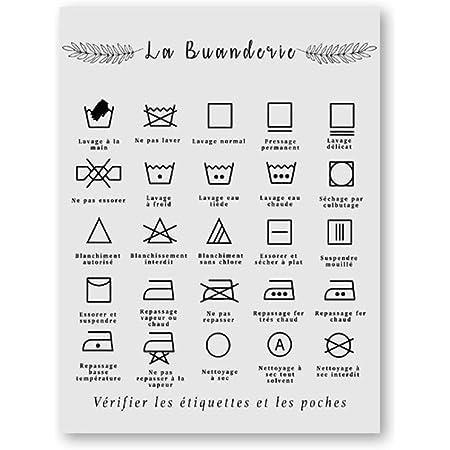 HNBLSHM Français blanchisserie Symbole Signe Imprime Noir et Blanc Affiche Affiche Buanderie Mur Art Photo Toile Peinture buanderie décor 40x50 cm Pas de Cadre