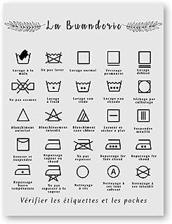 HNBLSHM Français blanchisserie Symbole Signe Imprime Noir et Blanc Affiche Affiche Buanderie Mur Art Photo Toile Peinture ...