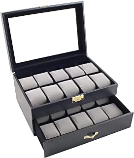 Black Classic Watch Case Display Box with Clear Glass Top Holds 20 Watches with Microfiber Cleaning Cloth