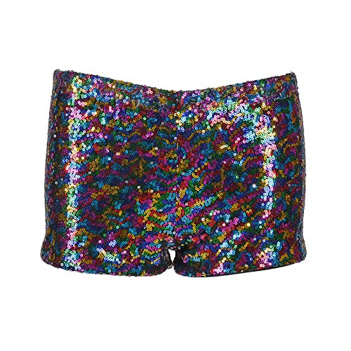 BFD One - Pantalones cortos de lentejuelas brillantes para mujer, color verde, dorado y plateado
