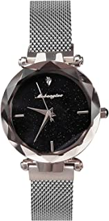 RORIOS Ladies Watches Shining Starry Sky Dial Magnetic Mesh Band Buckle Easily Use Simulated Diamond Women Wristwatches