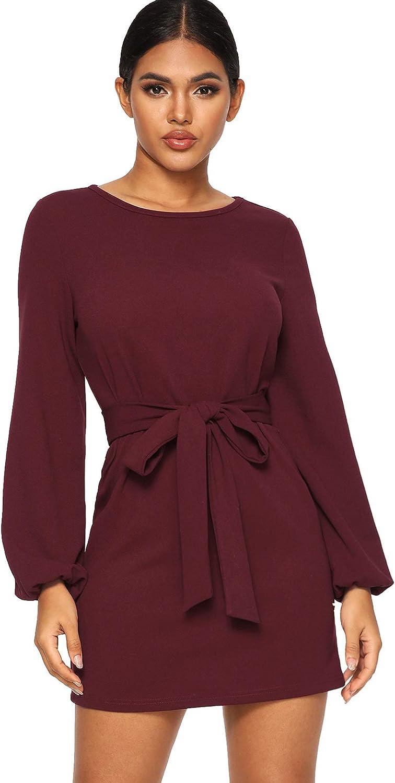 Milumia Women's Elegant Knot Waist Boat Neck Long Sleeve Solid Mini Dress