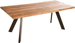 Marque Amazon -Alkove - Hayes - Table en bois massif avec pieds en métal en forme de A, 180cm, Chêne sauvage