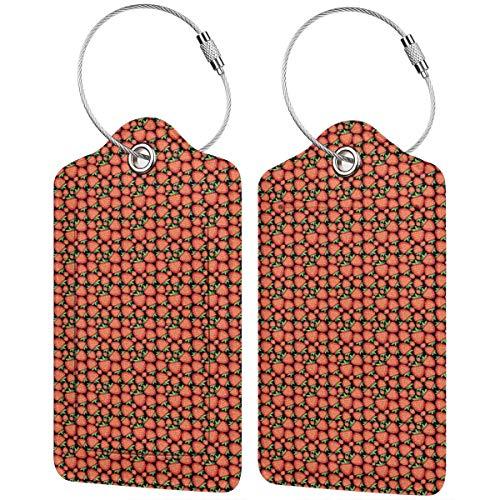ZOANEN Gepäckanhänger Kofferanhänger mit Adressschild,Erdbeer tropisches Fruchtmuster mit lebendigen Reifen Beeren Gesundes süßes Sommerfrisches Essen,(2 Stück)