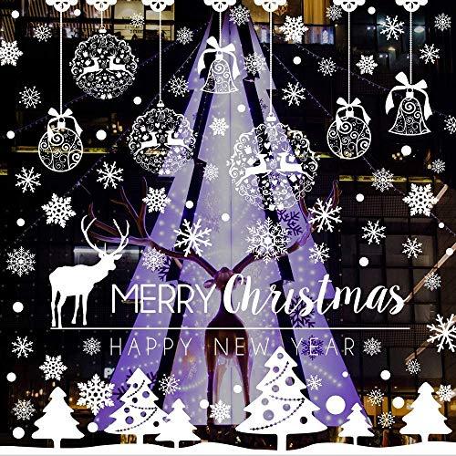 Flysee Weihnachten Fensterbilder, Schneeflocken Fensterdeko für Weihnachts und Winter Dekoration, Türen, Schaufenster, Vitrinen, Glasfronten, Statisch Haftende PVC Aufkleber
