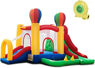 Costzon Inflatable Bounce House, 6 in 1 Mighty Balloon Double Slide Bouncer with Basketball Hoop, Climbing Wall, Large Jumping Area, Including Carry Bag, Repairing Kit, Stakes (with 680W Blower)
