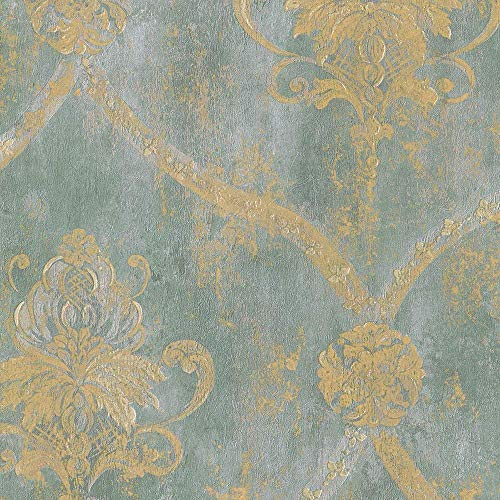 Wallpaper French Faux Aqua Blue Large Damask with Gold by Norwall