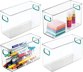 "mDesign Plastic Home, Office Storage Organizer Bin Box Container with Handles for Cabinets, Drawers, Desks, Workspace - for Pens, Pencils, Highlighters, Notebooks - 10"" Long, 4 Pack - Clear/Blue photo"