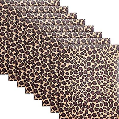 8 Pieces Leopard Print Pattern Vinyl Animal Pri...