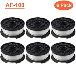 "Thten AF-100 Weed Eater Spools Compatible with Black Decker GH900 GH600 String Trimmer Replacement Spool Refills 30ft 0.065"" Auto-Feed Single Lines Edger Parts Grass Trimmers (6 pcs)"