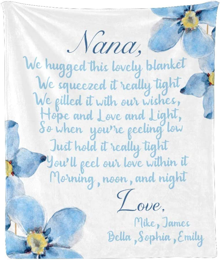 All stores are sold Qearl Floral Blue Flower We Love Nana You Bla Throw SEAL limited product Personalized