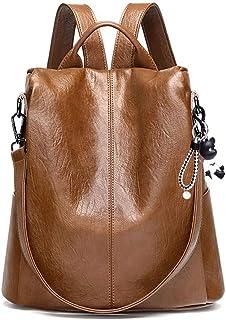 DEERWORD Damen Rucksack Handtaschen Elegant Anti Diebstahl Frau Stadtrucksack Henkeltaschen Tagesrucksack DE76732 Braun