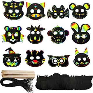 Odowalker Magic Scratch Art Rainbow Scratch Paper Animal Masks Face DIY Gift Scratchboard Art Kits for Kids Birthday Party Supplies 36 Pcs Rope 12 pcs Wooden (Animal Masks)