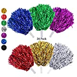 RETON Lot de 24 Pompons Cheerleading, Métalliques Pom-Pom Girl, Ponpons pour Enfants Cheer Sports, Jeux, Fêtes, Célébrations, Performances (Multicolore)