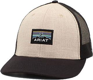 قبعة ARIAT رجالي من الخلف شبكية خلفية قابلة للتعديل بلون بني غامق/أسود
