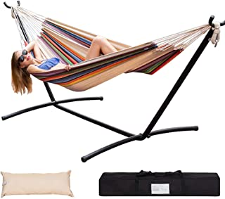 Lazy Daze Hammocks Double Hammock with Space Saving Steel Stand Includes Portable Carrying Case and Head Pillow, 450 Pounds Capacity (Tan Stripe)