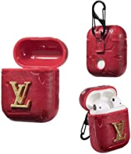 Airpods Case with Carabiner Keychain, Red Wireless Bluetooth Headset Box Charging Box PU Leather Shockproof Case Earphone Cover for Airpods