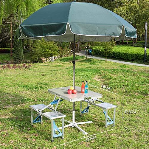 Picknicktische 4-Sitzer Regenschirm Garten Hof Klappbank für Erwachsene im Freien
