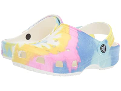 Crocs Kids Classic Tie-Dye Graphic Clog (Toddler/Little Kid) (White/Multi) Kids Shoes