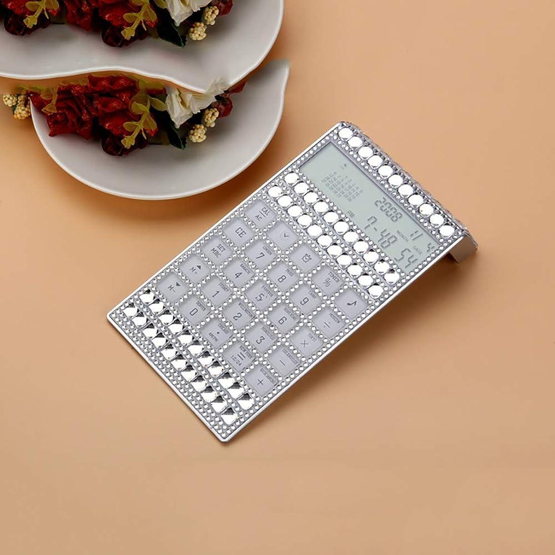 見通しアルプス存在する多機能 竹製電卓 象眼細工のラインストーン計算機多機能超薄型ガールモデル (色 : 銀)