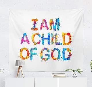 LALILO Decorative Tapestry I Child God Christian Prayer Letter Banner Bible Wall Hanging Tapestry for Bedroom Living Kids Girls Boys Room 80 W x 60 L,I Child God Prayer