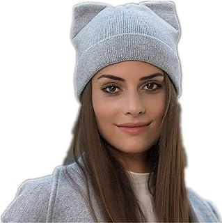 Women Cat Ear Beanie Hat Wool Braided Knit Trendy Winter Warm Cap