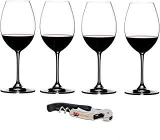 Riedel Vinum XL Crystal Syrah/Shiraz 4 Piece Wine Glass Set with Bonus BigKitchen Waiter's Corkscrew