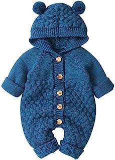 HUBA Neugeborenes Baby Strampler Overall, Kapuze Gestrickte Jumpsuit Winter wärmer Outwear Sweater Kleidungsset0-24 Monate