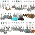 45 Pairs Fashion Hollow Drop Dangle Earrings Set for Women Girls Bohemian National Style Eardrop with Bronze Waterdrop Leaf Feather Shaped Tassel Turquoise Vintage Jewelry for Gifts