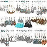 45 Pairs Fashion Hollow Drop Dangle Earrings Set for Women Girls Bohemian National Style Eardrop with Bronze Waterdrop Leaf Feather Shaped Vintage Jewelry for Gifts