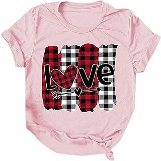 N\P Damen Kurzarm Brief Gedruckt T-Shirt Damen Love Plaid Kurzarm Casual Letter Printed Shirt