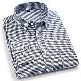 Camisas Hombre Manga Larga,Camisa A Cuadros De Algodón Camisas Casuales Camisas Clásicas Grises A Cuadros para Hombre Camisas Regulares con Botones De Bolsillo Padre Novio,