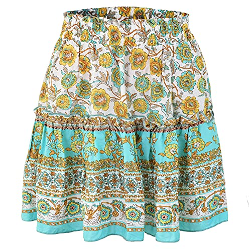 Bohemian Ethnic Style Short Skirt with Ruffled Print Skirt is Fresh and Sweet Women's A-Line Skirt Sky Blue