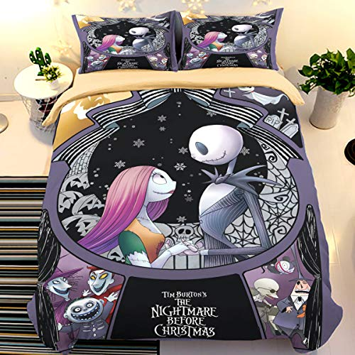 Nightmare Before Christmas Duvet Cover with 2 Pillowcases Cartoon Skull Bedding Set with Zipper Closure Soft Microfiber Bedding Set Double Size 200x200cm
