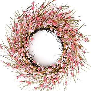 Bibelot 18inch Artificial Forsythia Flower Wreath, All Year Around Wreath for Front Door, Wedding Window Home Wall Indoor Front Door Decor (Pink, 18in)