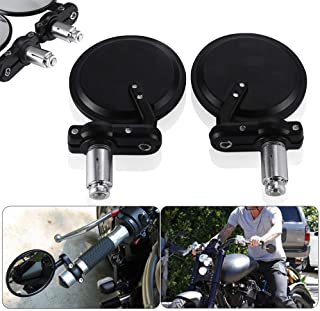 Black Motorcycle 3 Round 7/8 Handle Bar End Rearview Mirrors for Honda Harley