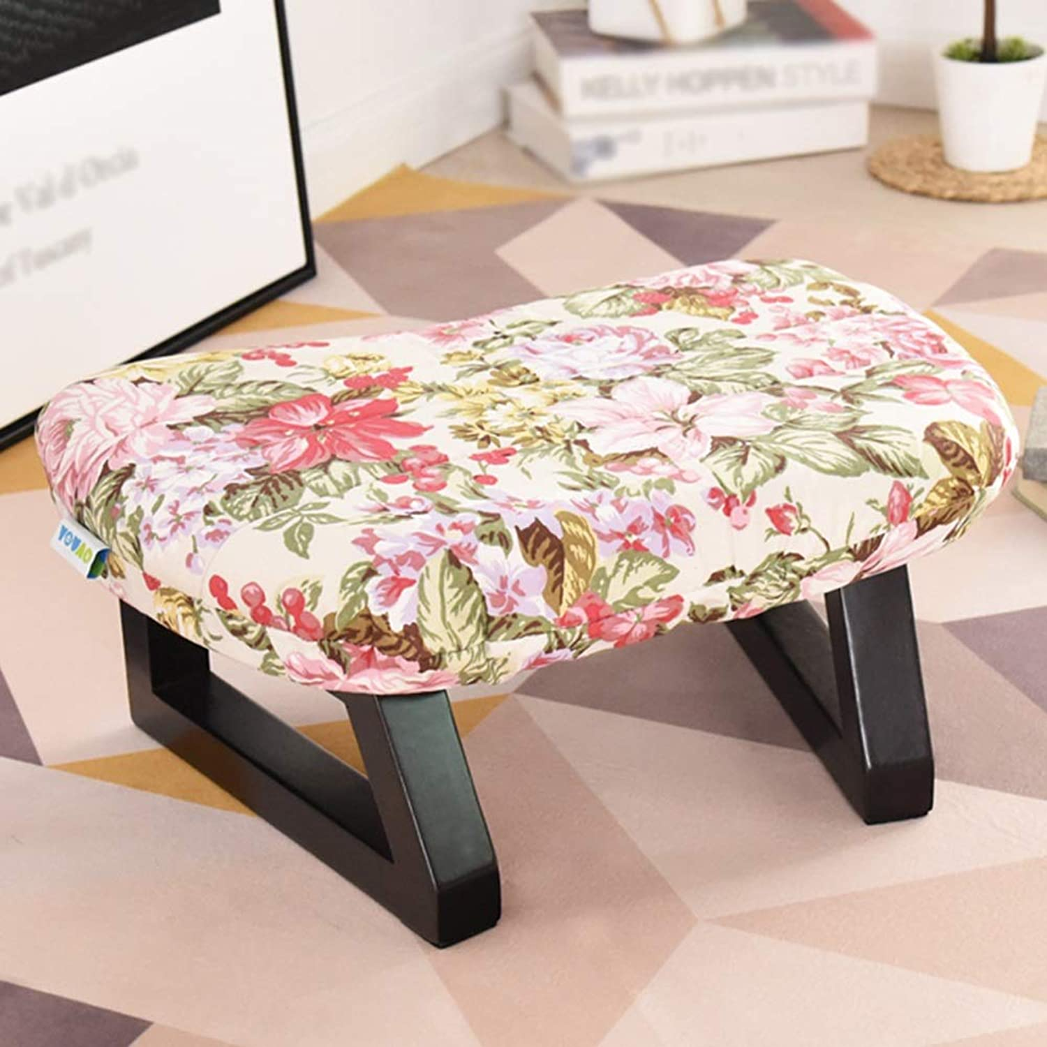 ZHAOYONGLI Stools Footstool Work Stool Step Stool Household Fashion Cloth Detachable Sofa Bench Change shoes Solid Wood Creative Solid Durable Long Lasting (color   Flower -18)