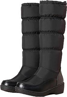 [APOSITIV] レディース ダウンブーツ 防寒ブーツ ロング丈 保温 軽量 裏起毛 ふわふわ ファー 黒