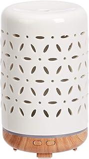 Amazon Basics 120ml Ultrasonic Ceramic Aromatherapy Essential Oil Diffuser with Wood Grain Finish Base, Flower Pattern
