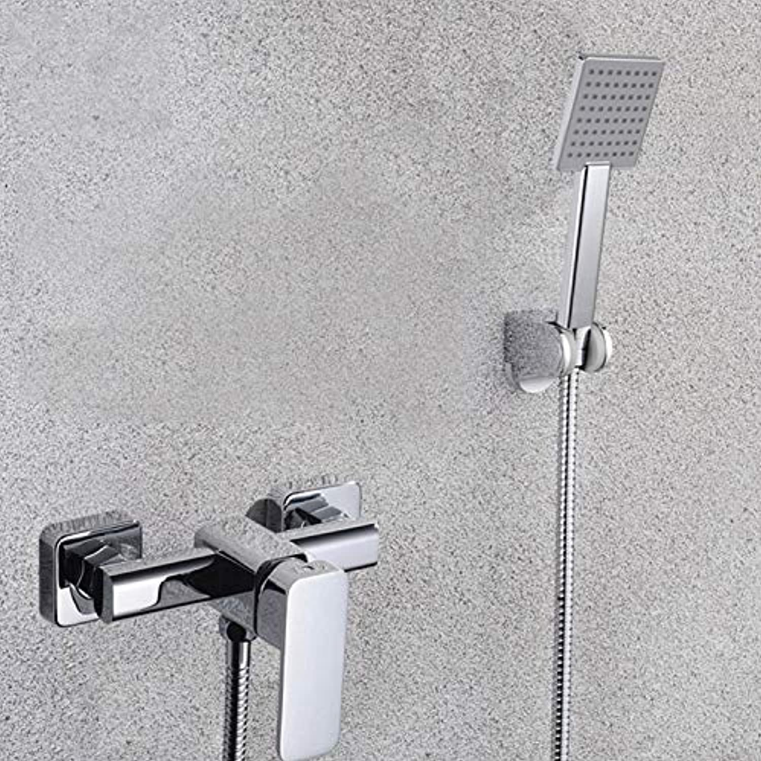 Chrome Solid brass shower mixer faucet wall mounted Cold and hot water tap faucet mixing valve shower set