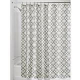 iDesign Trellis Textil Duschvorhang | Duschabtrennung für Badewanne & Duschwanne mit Spalier-Motiv | 183 cm x 183 cm Vorhang aus Stoff | Polyester beige