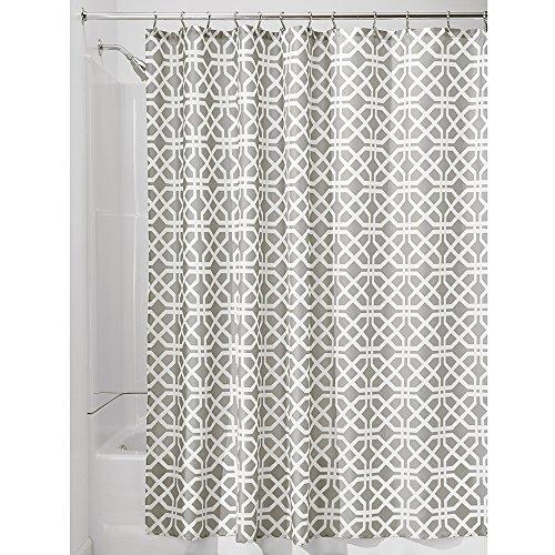 iDesign Trellis textiel douchegordijn | douchewand voor badkuip en douchebak met spaliermotief | 183 cm x 183 cm gordijn van stof | polyester beige