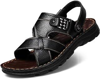 Fighrh Respirant Outdoor Hommes Sandales à Bout Ouvert Sandales en Cuir réglables antidérapants Chaussures de randonnée Co...