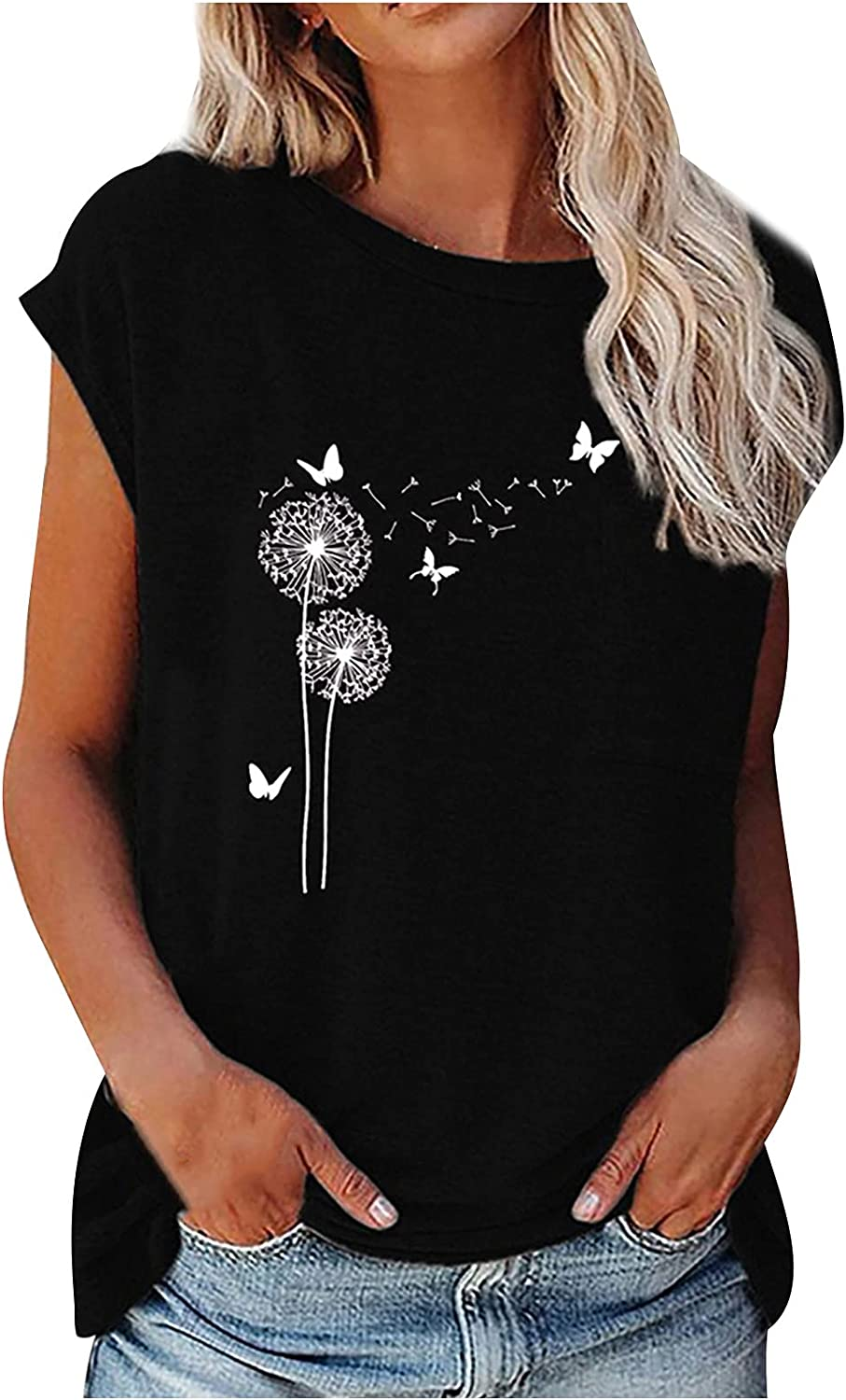 TARIENDY Dandelion Print Tees for Women Casual Comfy T Shirts Short Sleeve Tops Crew Neck Blouse