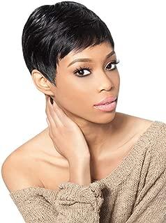AISI QUEENS Short Human Hair Wigs Pixie Wig for Women 100% Virgin Human Hair Pixic Cut Full Wigs Straight Hair with Bangs Natural Looking Balck Wig